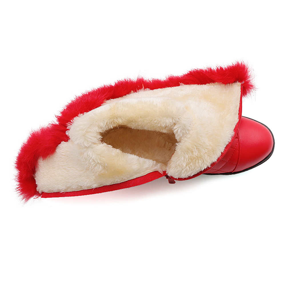 DoraTasia New Popular Women Snow Boots Faux Fur Increased Heels Warm Fur Inside Solid Winter Boots Female Shoes Woman 31-41 45