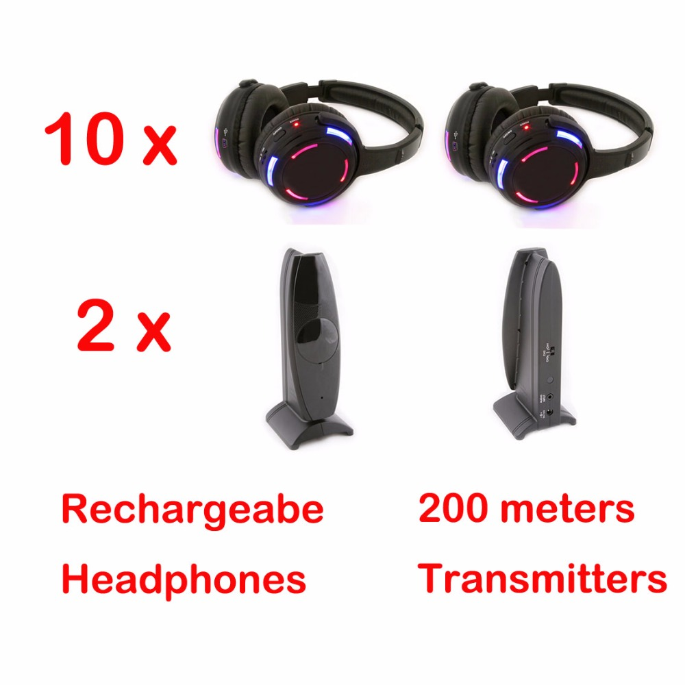 Professional Silent Disco system 10 LED flashing Headphones with 2 transmitters RF Wireless For iPod MP3