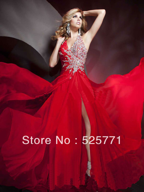 040e24a8c26 New Beautiful Sexy High Quality Red Chiffon Halter Beading Prom Pageant  Dress Formal Gowns Evening Dress Free shipping