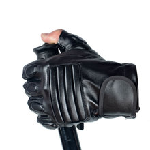 Morewin Fingerless Mens Leather Tactical Gloves Half Finger Army Military Mitten Men Fitness Ourdoor Black Driving Autumn