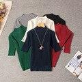 2016 autumn Korean semi bright silk knitted shirt collar female head elastic thin short sleeved coat