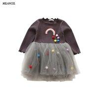 MILANCEL Long Sleeve Girl Dress 2018 New Spring Dresses Children Clothing Princess Dress Rainbow Design Girls