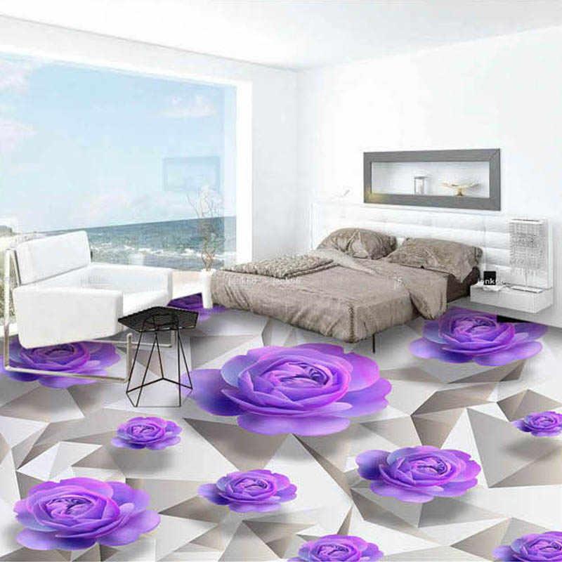 العرف ثلاثية الأبعاد الطابق خلفية الأرجواني ارتفع غرفة المعيشة غرفة نوم الحمام الطابق لوحات جدارية بولي كلوريد الفينيل ذاتية اللصق خلفية مقاوم للماء
