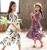 Casual Dress with Sand White Purple Girl Fashion Speaker Sleeve Dress 2018