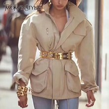 TWOTWINSTYLE 夏固体のジャケットラペル襟長袖ジッパーサッシチュニックコートと女性のファッションの服 2019
