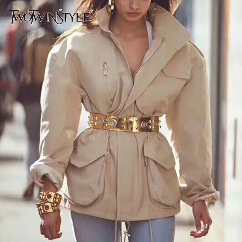 TWOTWINSTYLE 夏固体のジャケットラペル襟長袖ジッパーサッシチュニックコートと女性のファッションの服 2019  グループ上の レディース衣服 からの ベーシックジャケット の中 1