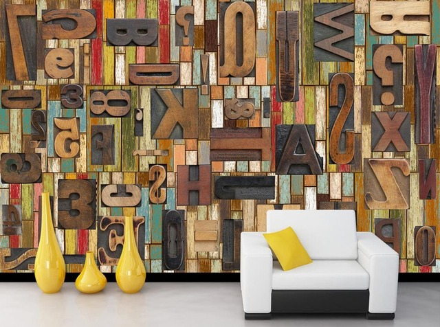 Home Decoration Retro woodcut wooden alphabet Bar Restaurant Cafe