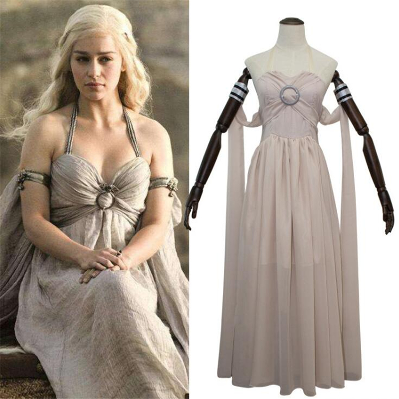 Popular movie Game of Thrones Daenerys Targaryen Rice white Dress Long Hair Wig Suit Cosplay Costumes Halloween Party Clothes