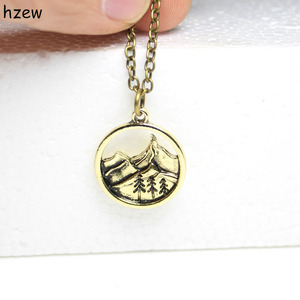 hzew Lovely round pendant Pine Tree charm under the mountain necklace camping jewelry Outdoor Jewelry Gifts for Campers
