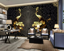 beibehang European luxury beautiful home wallpaper black gold peacock background wall papel de parede for walls 3 d