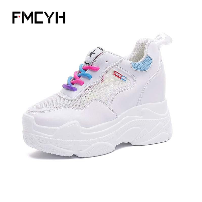 FMCYH Causal Shoes Women Sneakers Platform Ladies Footwear Summer 2018 Mesh Colorful Wedges High Heels Shoes White Woman Sneakes