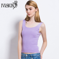 2017 Solid Crop Tops Female Sexy Knitted Tank Top Women Simple Vest Slim Tops Femme