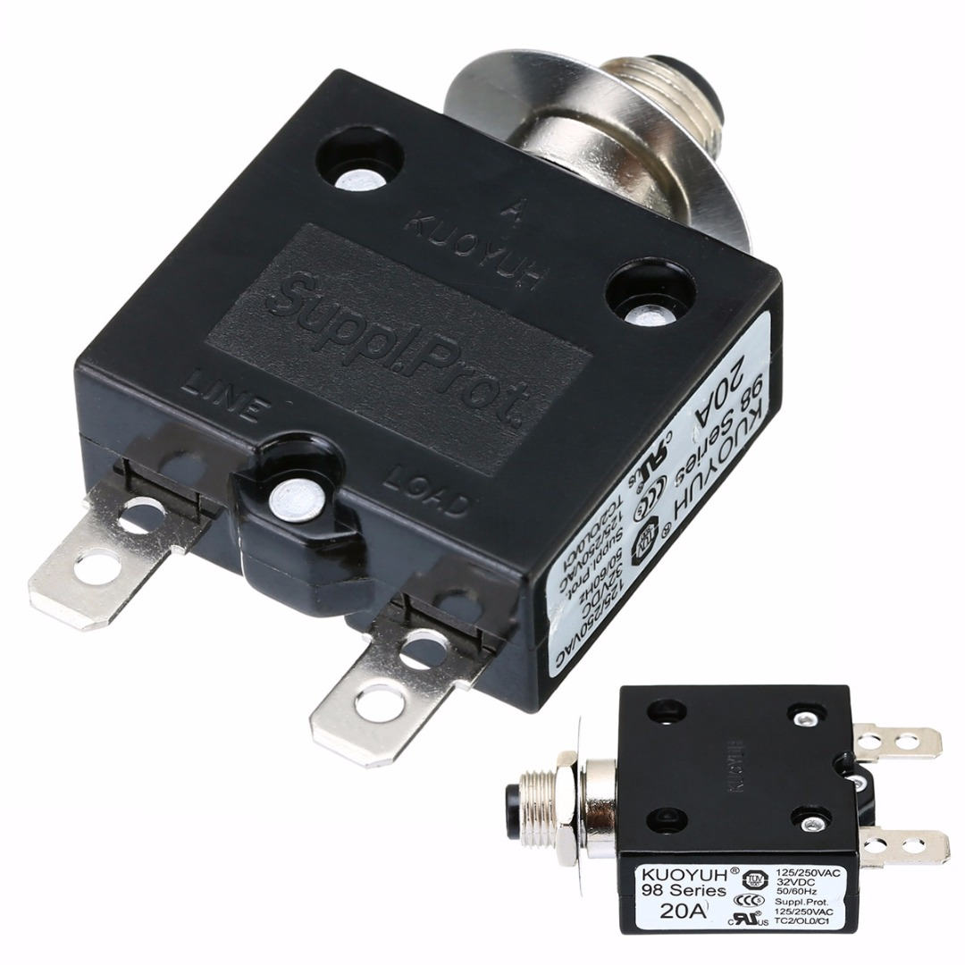 Resettable 5//10//15//20A Overload Protector Reset Button Circuit Breaker Switch