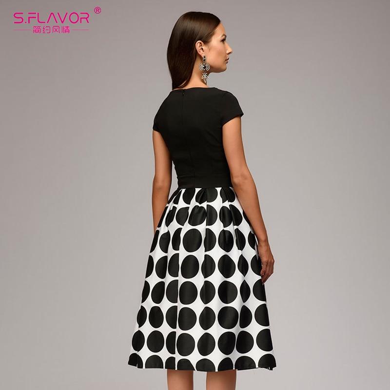 S FLAVOR Vintage women wave point dress Hot Sale short sleeve patchwork A line short dress