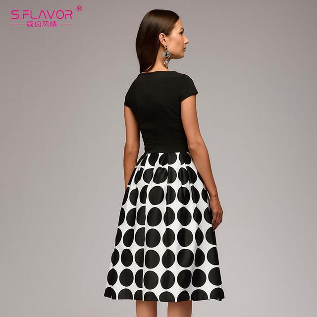 Women wave point dress short sleeve