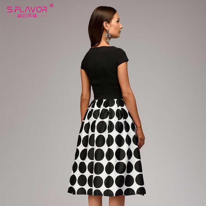 Женское винтажное платье в горошек S.FLAVOR, лоскутное короткое платье-трапеция с коротким рукавом, повседневные платья для весны и лета