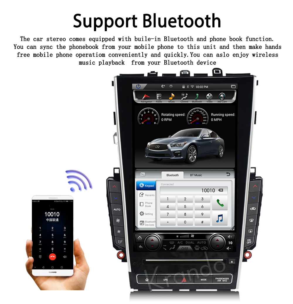 Krando Android 7 1 12 1 Tesla Vertical screen car dvd audio radio player  for Infiniti Q50 Q50L gps navigation multimedia system BT