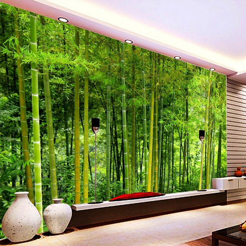 Latest high quality bamboo wall paper living room tv sofa for 3d nature wallpaper for wall