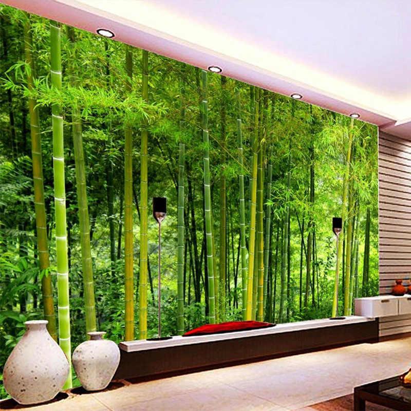 Mais recente de Alta Qualidade de Bambu Sala de estar Sofá TV pano de Fundo Papel de Parede Mural 3D Natureza Paisagem Home Decor Papel De Parede parede 3D
