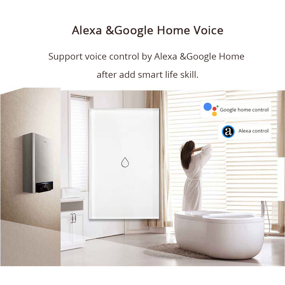 Wifi inteligente calentador de agua interruptor de interruptores Alexa Google Voz estándar Panel táctil temporizador al aire libre 4G App control