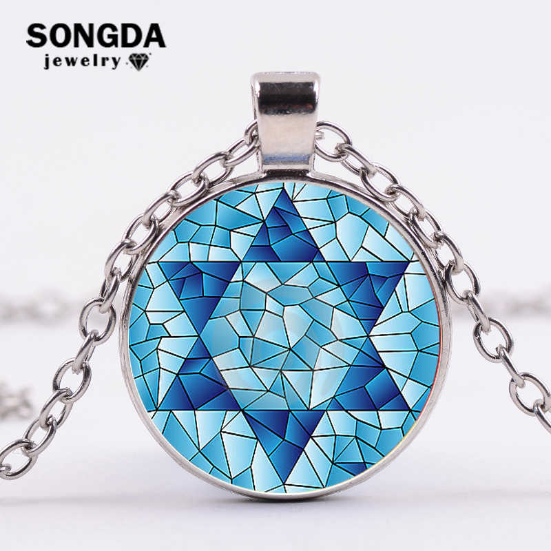 SONGDA Magen Star Of David Necklace Geometry Pentagram Art Glass Pendant Jewish Shield Symbol Long Necklace Women Men Jewelry