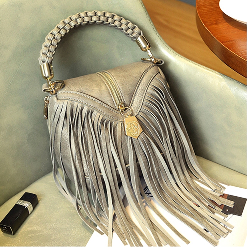 Vintage Fashion Women Handbags Leather Shoulder Bag Women Messenger Bags Brand Designer Tassel Bags Tote Sac a Main Bolsas A0280 vintage punk tassel shoulder bags pu leather handbags women messenger bag casual tote bag small crossbody bags