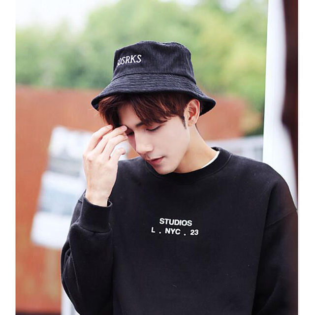 Men s Bucket Hats Boonie Corduroy Unisex Women Men hats Summer Solid Color  Casual Bucket Hat Dancer Hip Hop cap Beach hat c3aa5f09e58