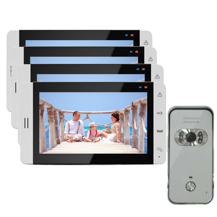 """Система домашнего Интерком охранника """" видео домофон система монитор с функцией записи(опционально) сенсорная кнопка 700TVL ИК камера 1V4 - Цвет: 4X705 V 669HS"""
