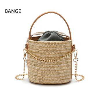 ed9ecaae62f5 BANGE Для женщин мини-соломенная сумка ведро сумки через плечо Handbangs со  шнурком мешок внутри Sacoche Femme Bamboo сумка Sac En Paille