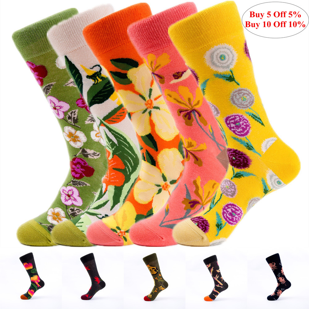 Size 36-43 Fashion Women   Socks   Flower Pattern Long Tube   Socks   Colorful Creative Breathable Dress   Socks   Women for Spring Summer