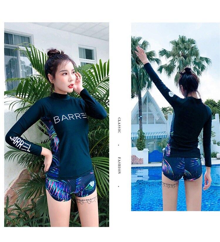 Water Sports Rash Guard Good Plus Size Rash Guard For Women Wetsuit Split Swimsuit Swimming Bath Clothes Swimwear 2018 New Arrivals Long Sleeve Pants Surf