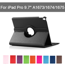360 Rotating Case For iPad Pro 9.7 inch Pro9.7 A1673 A1674 A1675 PU Smart Cover Folding Folio Tablet Stand Holder Anti-Dust