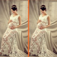 Maternity Lace Flower Gown Dress Pregnant Photography Props V Neck Perspective Dress Fancy Pregnancy Photo Shoot