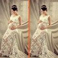 Vestido de Flor de Renda Vestido de maternidade Grávida Fotografia Adereços Com Decote Em V Perspectiva Vestido Fantasia Roupas Estúdio Sessão de Fotos Da Gravidez