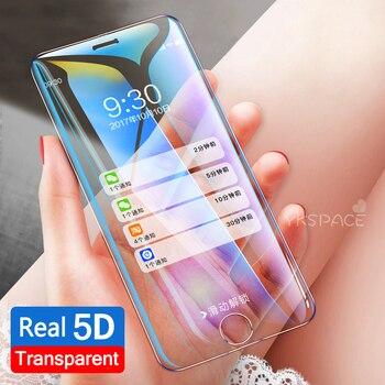049169a66dc 9 H Real 5D borde curvado transparente de vidrio templado para iPhone 6 6 S  7 8 Plus 10 X XS X MAX XR cubierta completa 3D Protector de pantalla ...