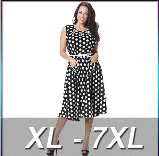 e16cf0478bd9e 6XL 7XL Plus Size Women Polka Dot Black Vintage Rockabilly Dress Summer 50s  60s Retro Hepburn Tunika Big Swing dress