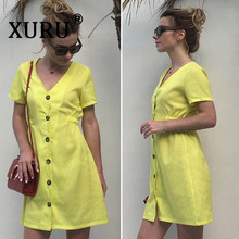 XURU summer fashion new womens dress solid color V-neck slim single-row button