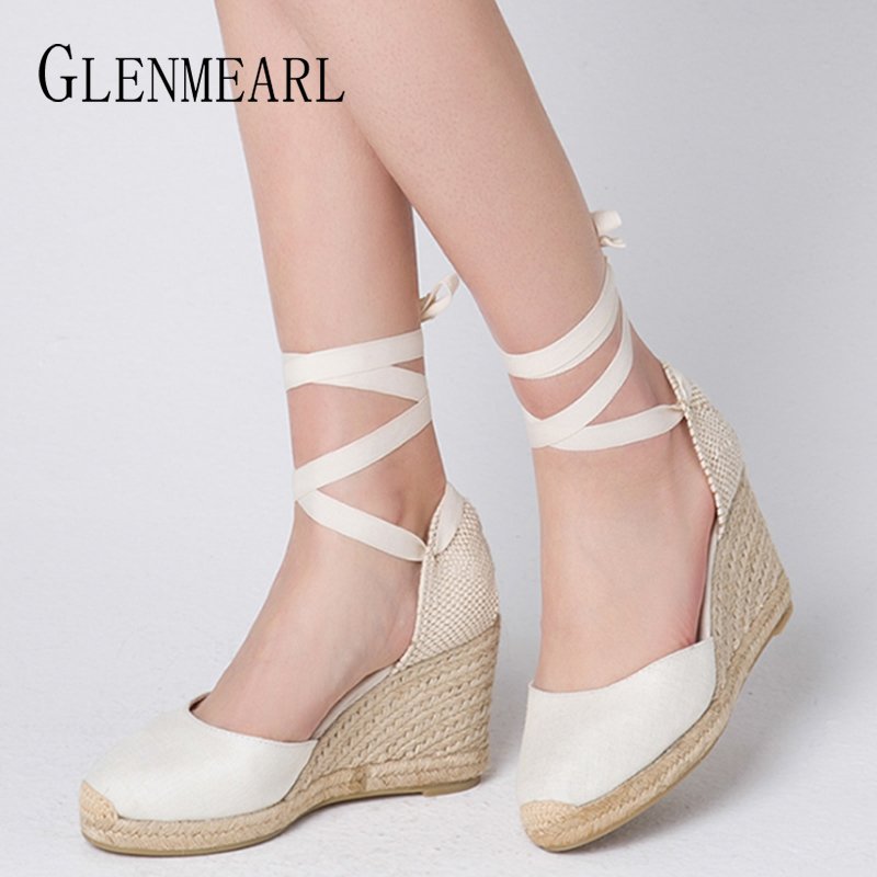 f59346691cc US $25.88 45% OFF|Women Sandals Wedge Heels Summer Shoes Platform Canvas  Ankle Strap Casual Woman Shoes High Heels Wedges Straw Lace Up Plus Size-in  ...