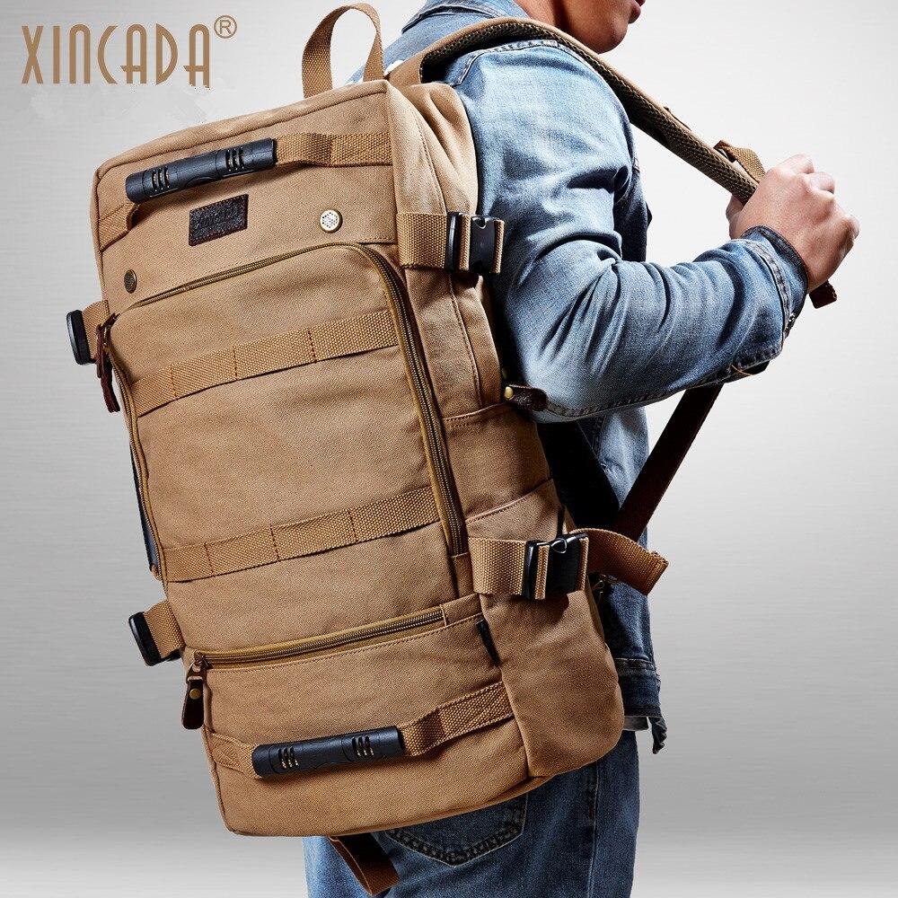d133bd96357 Detail Feedback Questions about XINCADA Men Backpack Vintage Canvas Backpack  Rucksack Laptop Travel Backpacks School Back Pack Shoulder Bag Bookbag on  ...