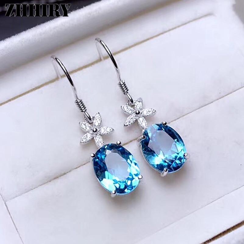 ZHHIRY Natural Topaz Gemstone Drop Earring Genuine 925 Sterling Silver For Woman Blue Gem Earrings Fine