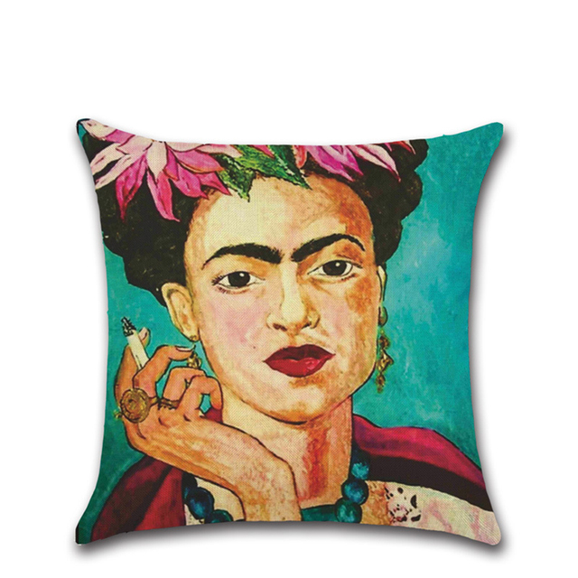 Self-portrait Pillowcase Frida Kahlo Colorful Flower Woman Linen Pillows Square Painting Pillow Cover Bedroom Home Decorative