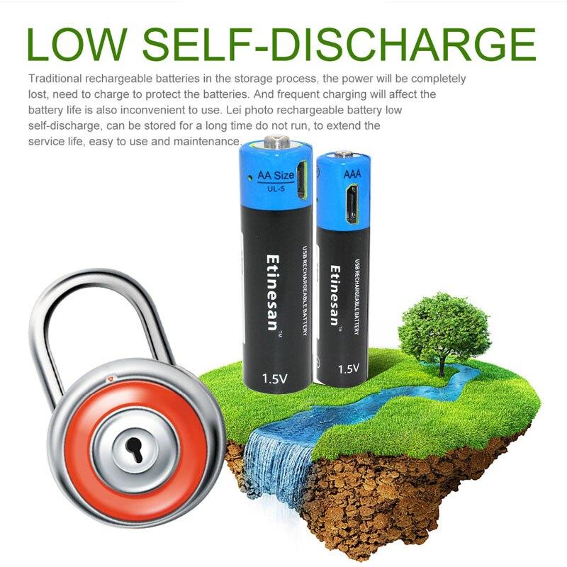 Znter 2 batterie + 1USB chargeur Nova bateria AA 1.5 V flash jouet de la souris AA batterie lítio recarregável батарейки заряжаемые por usb