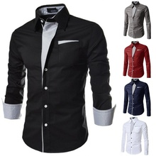ZOGAA new men's shirt stripes long sleeve slim