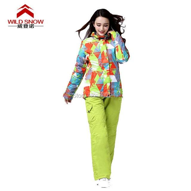 2016 womens colorful ski suit female snowboard suit snow suit geometric ski jacket and fruit green ski pants snow wear skiwear