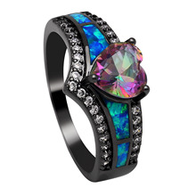 ФОТО black plated rainbow blue purple stone blue opal heart rings for women wholesale fashion jewelry cocktail ring gift rc0105