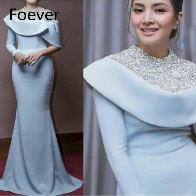 5713b24261 One Long Sleeve Bridesmaid Dresses 2019 Muslim Abendkleider Dubai Long  Sleeve Formal Dress Crystal Mermaid Arabic
