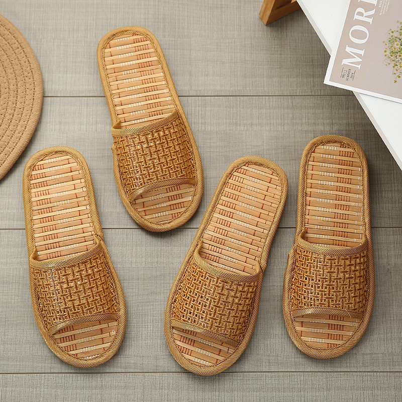 Couple Four Seasons Breathable Household Bamboo Mat Sandals Women Summer Thick-soled Straw-woven Floor Slippers Men
