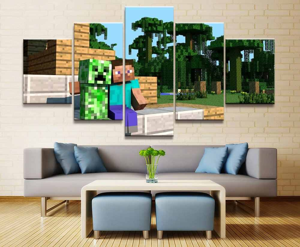 HD Print Painting Artwork Painting Wall Art Paintings on Canvas Wall Art for Home Decorations Wall Decor 5 Piece Game minecraft