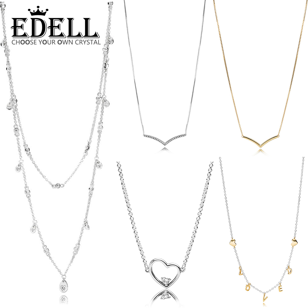 EDELL 100% 925 Sterling Silver 1:1 Shine Shining Wish Collier Necklace Chandelier Droplet Shining Wish Hearts of Love NecklaceEDELL 100% 925 Sterling Silver 1:1 Shine Shining Wish Collier Necklace Chandelier Droplet Shining Wish Hearts of Love Necklace