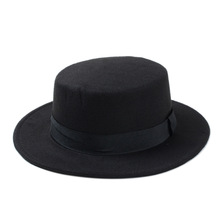 10 Color Men Women Fedora Hat Flat Dome Oval Top Bowler Porkpie Toca Sombrero Hat With Black Ribbon Band 10 cheap Fedoras Casual Polyester Cotton AFR-1N Unisex HXGAZXJQ Solid Adult 5 5CM 9 5CM